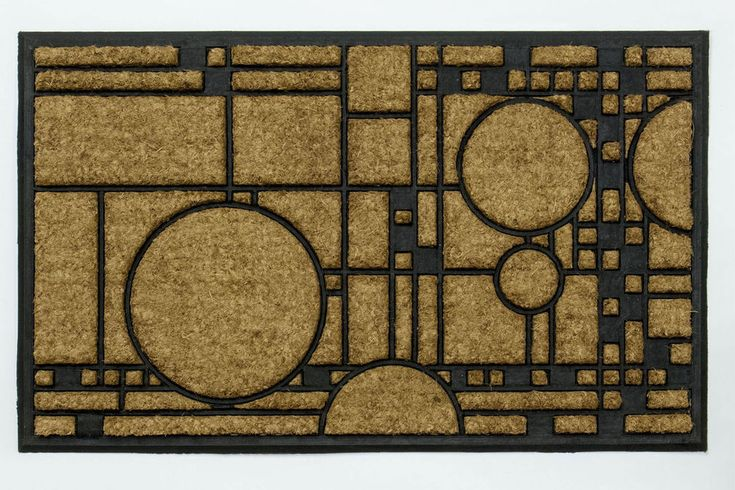 Frank Lloyd Wright COONLEY PLAYHOUSE DOORMAT Outdoor 36x22 Natural COIR Rug #FrankLloydWright #Geometric