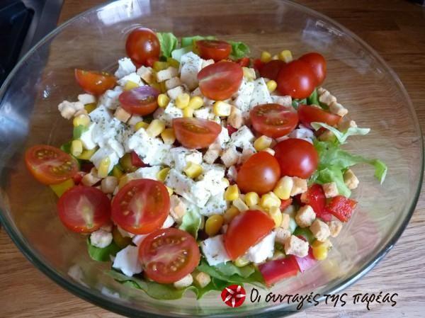 Σαλάτα με καλαμπόκι και φέτα-salad with corn and greek cheese feta #sintagespareas