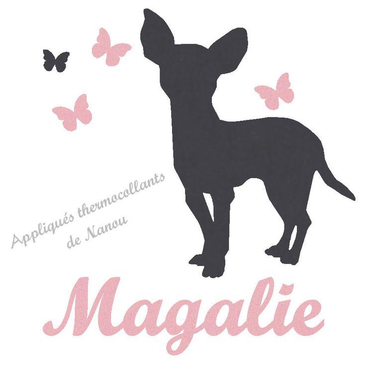 Appliqué thermocollant personnalisé fille chien chihuahua en flex velours : Ecussons, appliques par les-thermocollants-de-nanou
