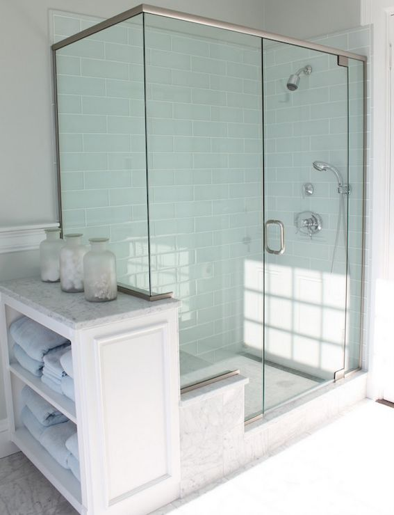 bathrooms - blue gray glass shower tile brick pattern carrara marble seat penny tile floor walls molding white vintage canisters