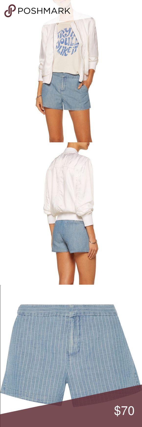 Joie Merci Linen-Blend Shorts Joie light-blue and white Merci shorts. 51% linen, 49% cotton. Washed Indigo. Joie Shorts