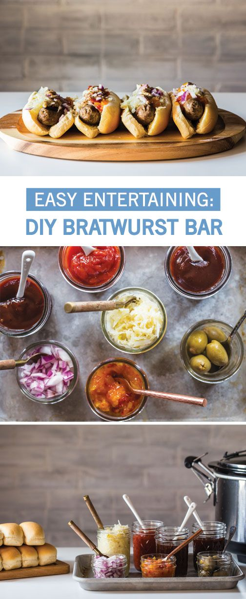 Have your guests customize their favorite summer dish with this easy entertaining idea! A DIY Bratwurst Bar is a great way to get everyone in on the food prep and having a little fun with their food. With such an easy setup, you're sure to score big at your Memorial Day party with this build-your-own-brat bar.