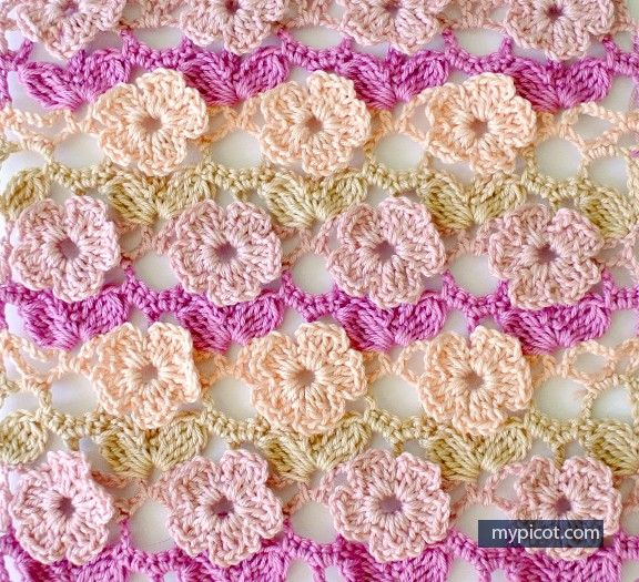 Learn A New Crochet Stitch: 5 Petal Flowers Crochet Stitch