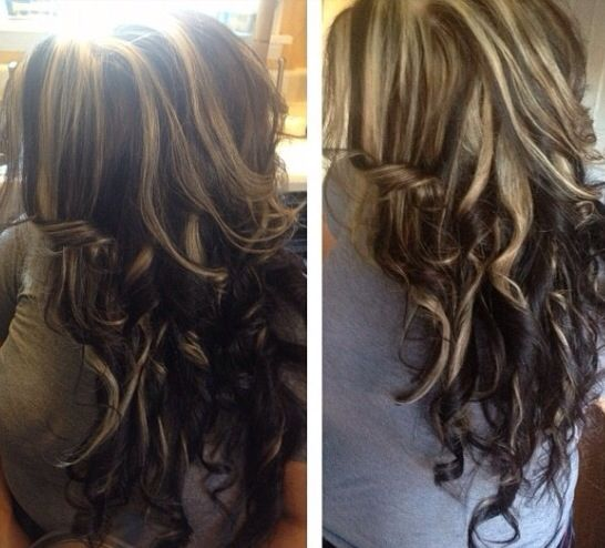 Blonde Highlights On Top Of Dark Hair Pinterest