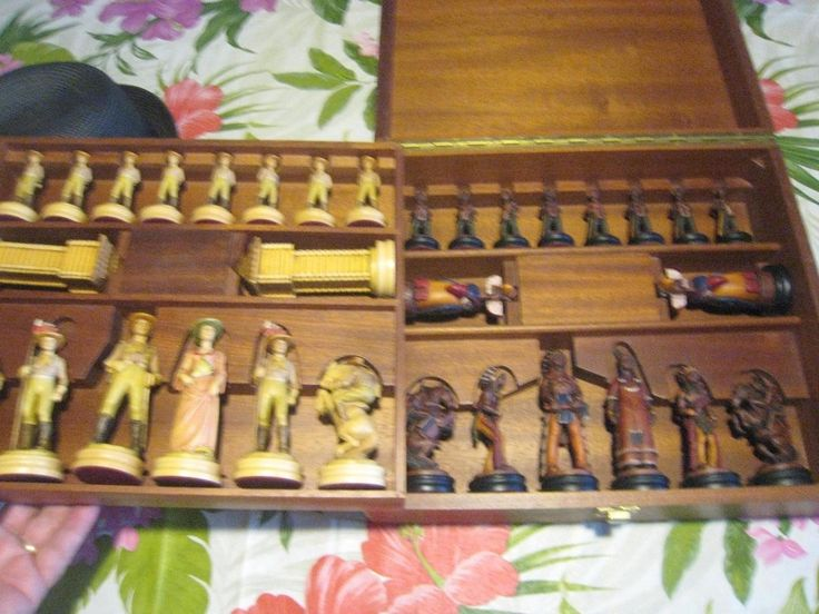 Anri Far West Chess Set  Imported Antique Hand Painted Italian Wood rare | #1823809430