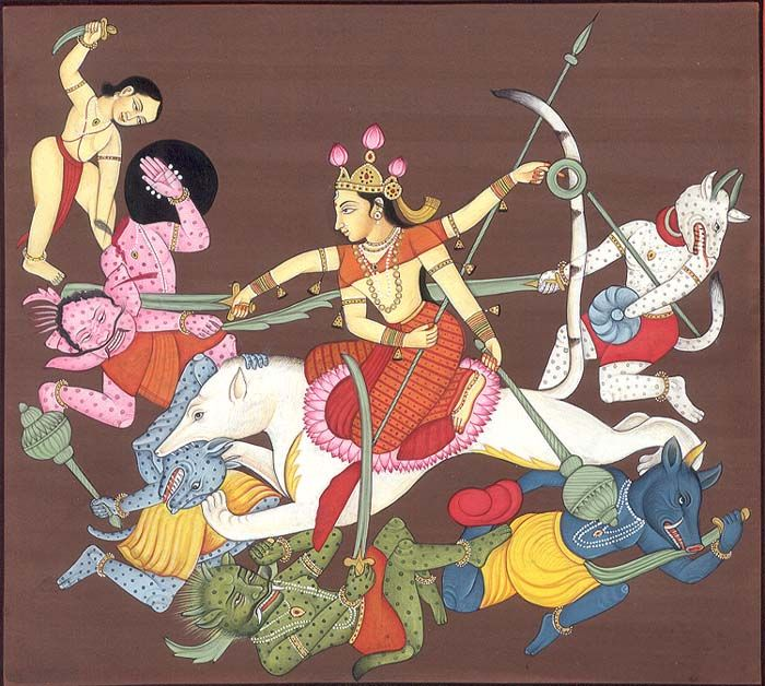 Goddess Durga Slaying Demons