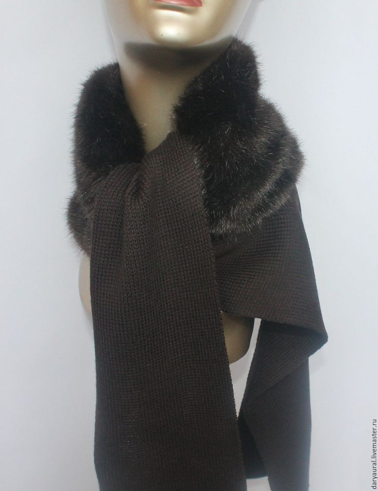 """Купить Вязаная горжетка """"Элегантная"""" - коричневый, горжетка меховая, шарф женский, шарф вязаный"""