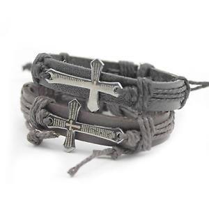 MEN'S Retro Bracelet PU Leather Hemp Rope Weave Cross Faith Wrapped Wrist Band   eBay