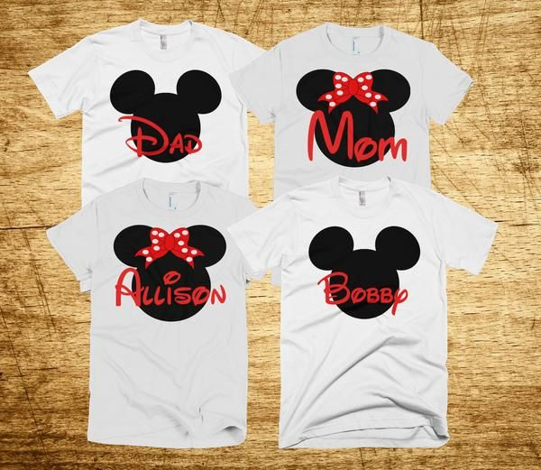 Disney Mickey and Minnie Family Vacation T-shirts Customized with Name***Please Select Number Of Shirts Needed In the Quantity Area Of Your Shopping Cart*** All Of Our Shirts Are:   100% fine jersey cotton   Direct-to-garment printing  American Apparel Brand Machine Wash Personalized Name Custom Mouse logo in center Available In Mens,Womens,Youth and Infant Sizes  ***************IMPORTANT***************Please include the following in the Additional Comments Section at the time of purchase…