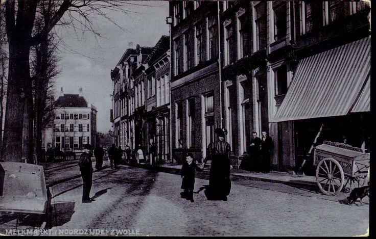 """Gezicht op de noordzijde van de Melkmarkt, gezien vanaf de Grote Markt, ter hoogte van de Steenstraat, ca. 1906. Te zien zijn de panden Melkmarkt 32 en hoger. Uiterst rechts staat de venterswagen van bakker N. C. Avink. Hij had, volgens opschrift op de broodkar, een """"pain de luxe- en Weener broodbakkerij"""" en was gevestigd Melkmarkt C24= Melkmarkt 32. Korte tijd na deze opname werden de hoge bomen gekapt en vervangen door nieuwe, jonge boompjes. In de verte is het kantoorpand van Van der…"""