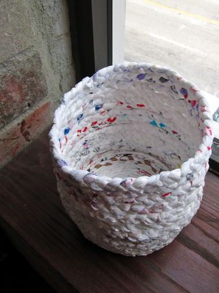 Up-cycle your plastic bags into baskets. No weaving or knitting just braiding! Beware of eco-friendly bags that are disposable. Can also do with fabric stripes (t-shirt)
