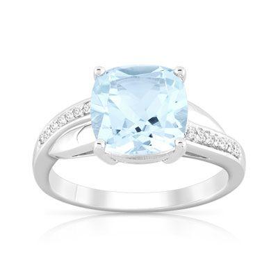 #BAGUE or 375 blanc topaze bleue traitée et diamant #MATY #Bijoux - www.maty.com