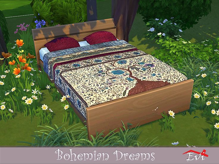 evi's Bohemian Dreams Sims 4 beds, Furnishings, Bed