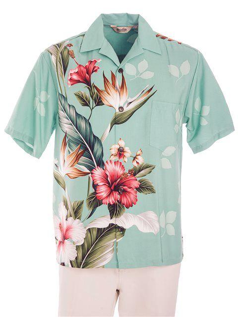 Royal Hawaiian Creations Men's Hawaiian Shirt [Tropical Flowers/Teal]