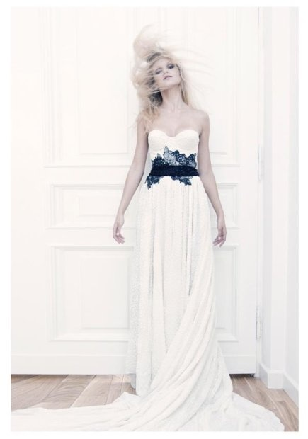 Stunning navy blue lace belt on white wedding dress ... Love it