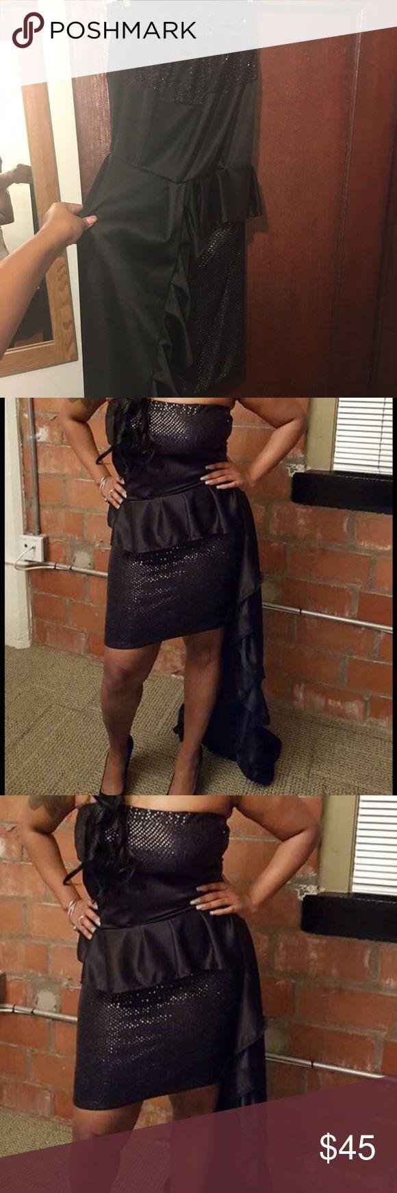 Prom dress Peplum prom dress. Train on left side touches the floor. Mini dress with train. Worn 1x. Dresses Prom