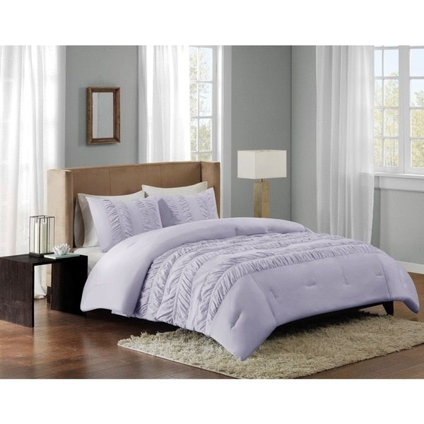 Create a fun and inviting look in your space with the Deanna Comforter Set. The soft purple color pairs beautifully with the ruched fabric manipulation on the top of bed for the perfect balance of col