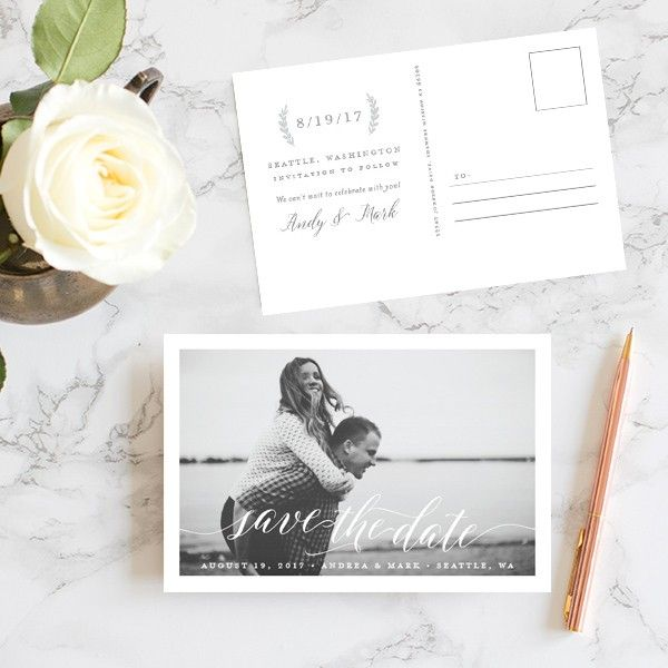 Chic Calligraphy Save The Date Postcards  | Elli
