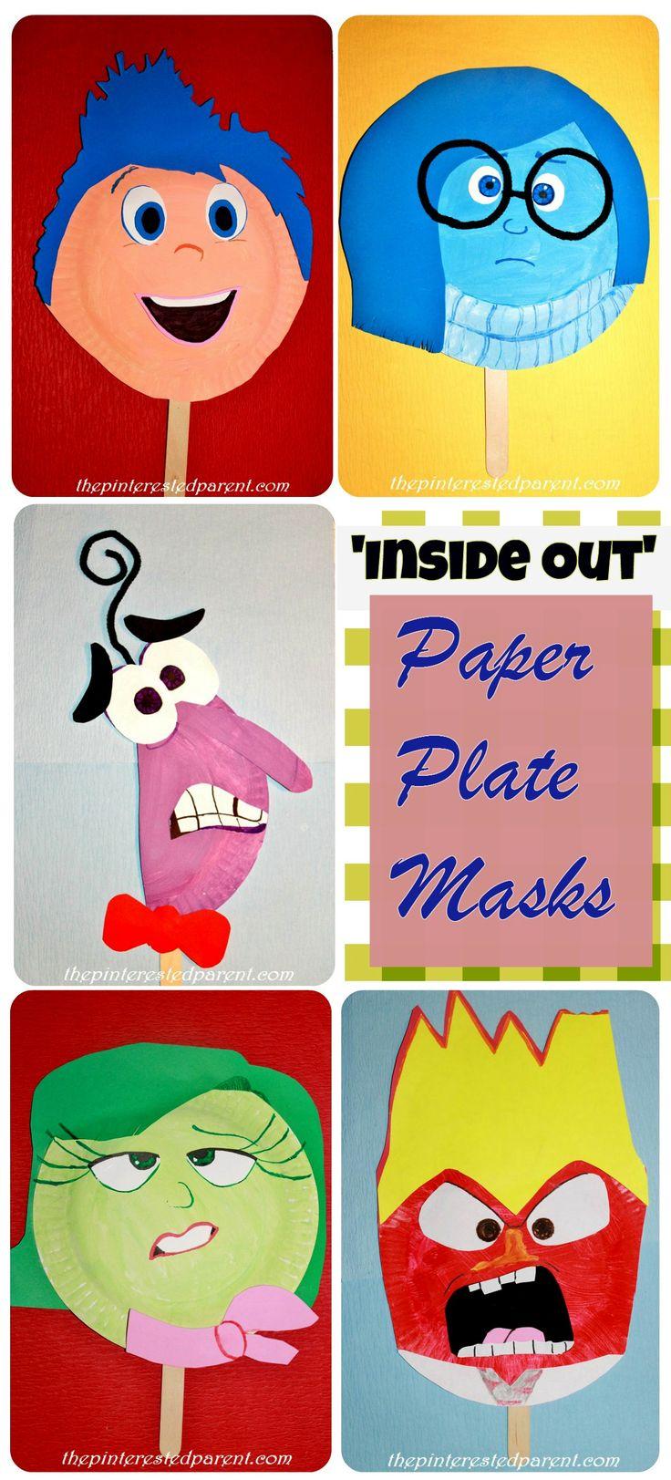 Disney Pixar Inside Out Inspired Paper Plate Masks Crafts