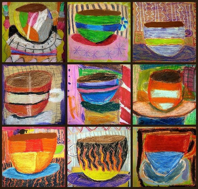 oil pastel/tempera coffee cups by 3rd graders.