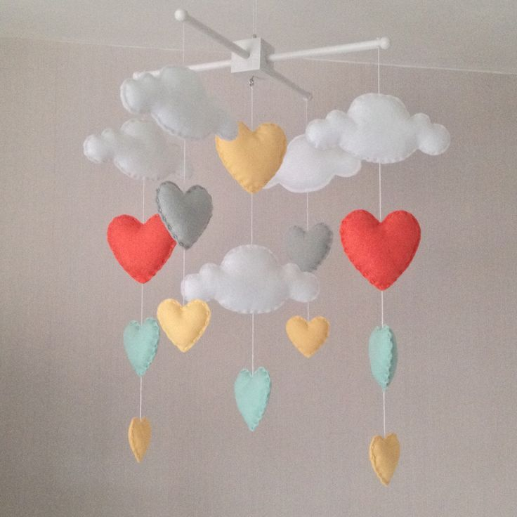 Baby mobile - Cot mobile - clouds and hearts - Cloud Mobile - Baby girl mobile - Nursery Decor - Pastel Nursery - Pastel baby mobile  by EllaandBoo on Etsy https://www.etsy.com/listing/211846635/baby-mobile-cot-mobile-clouds-and-hearts