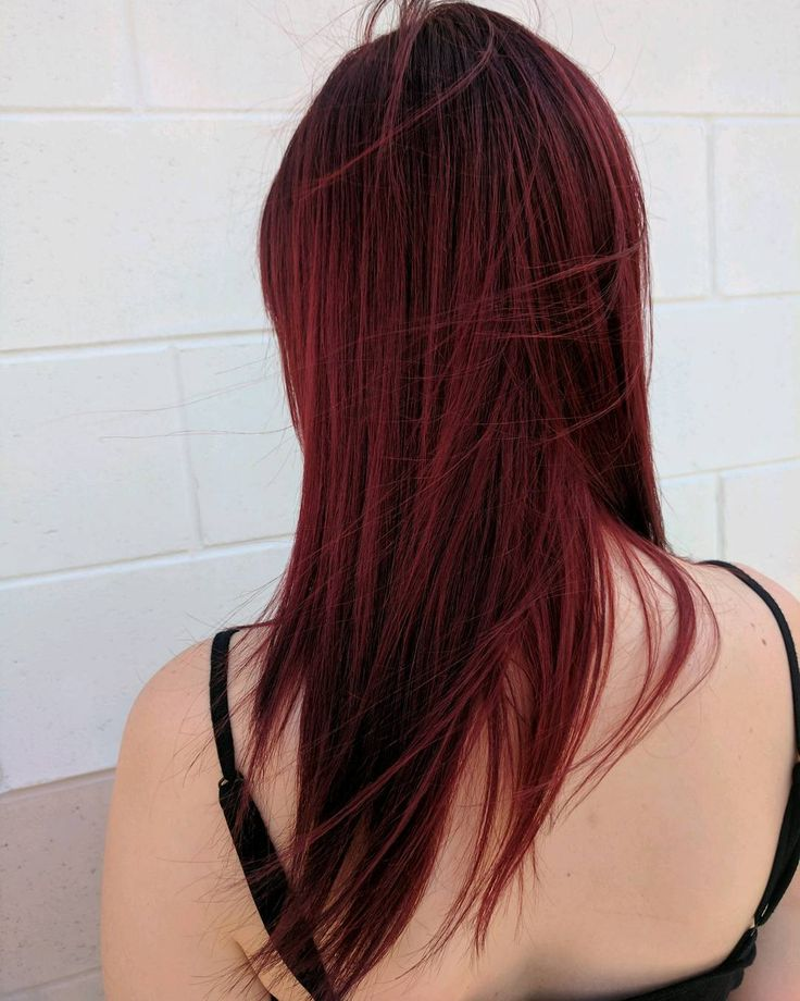 Gorgeous dark red auburn Aveda hair color by Aveda Artist Domenique. Formula: Regrowth: 10g 4n 30g intense base 10g pure red 5vol. Mids-ends: 40g intense base 30g pure red 5 vol. Process 35 min.