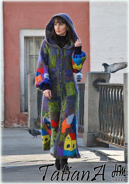 "Вязаное пальто ручной работы ""Fantastic Vienna"" - пальто,вязаное пальто"