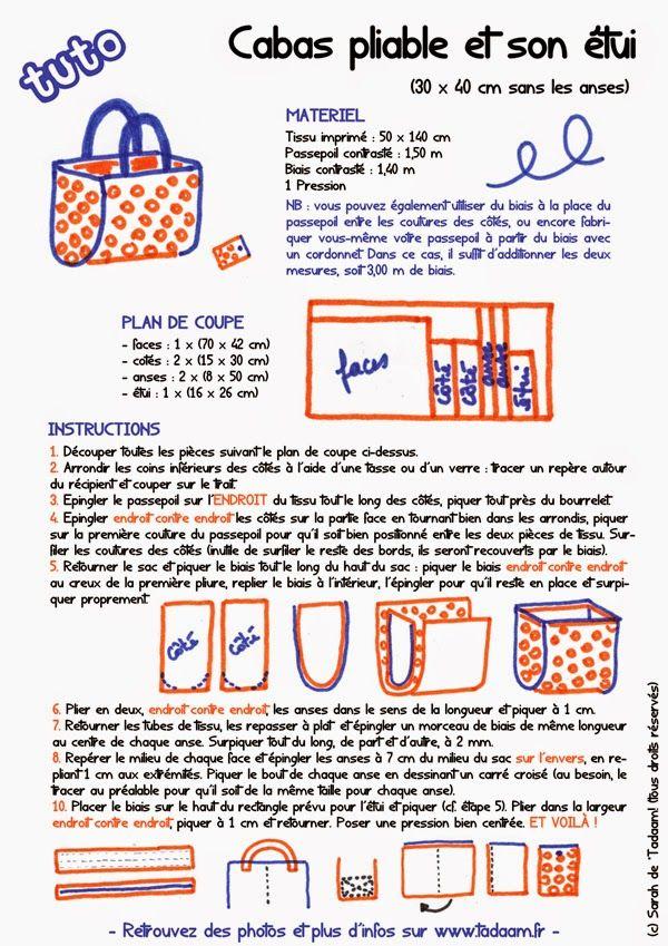 DIY / TUTO : Cabas pliable et son étui par *Tadaam! Grand fourre-tout à décliner dans toutes les couleurs, il peut aussi servir de sac de plage...