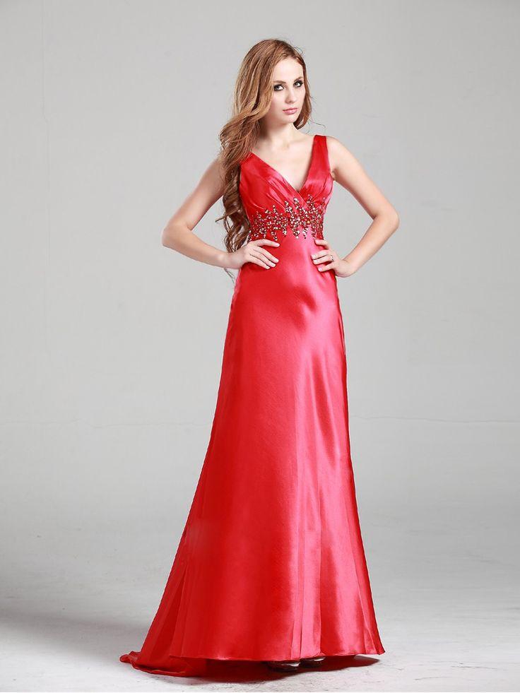 V-neck Red Sleeveless Long Prom Dress