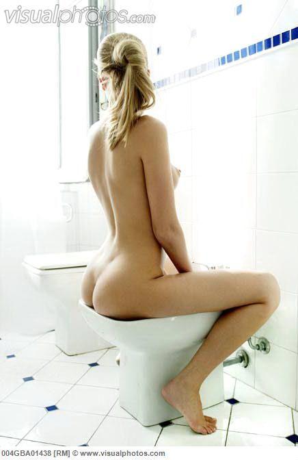 Nude girl using bidet agree