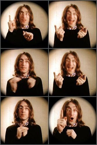 John Lennon. ____  ( session for author shot on one of his books? -- never seen these before. )