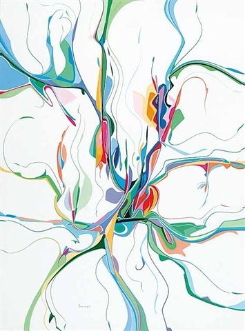 Alex Janvier fuses indigenous culture with modern European abstraction. Janvier stirs the flavours of Kandinsky and Miro with traditional Dene quill and beadwork, and the pull of sacred lands. --GeeMac