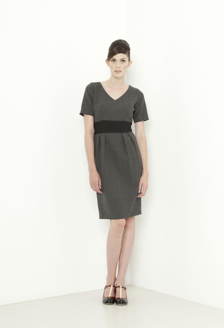 Eton Dress - charcoal/black
