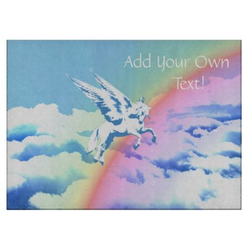 http://www.zazzle.com/pegasus_flying_over_clouds_and_rainbow-256765095963912329?rf=238523064604734277 Pegasus Flying Over Clouds And Rainbow - This glass cutting board features a Pegasus flying over a rainbow over clouds. Add your own name or text!