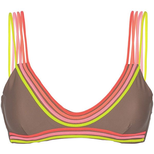 Luli Fama Unusual Strappy Bra-style Swimsuit Top - Soutien Unstoppable (€76) ❤ liked on Polyvore featuring swimwear, bikinis, bikini tops, brown, triangle bikini swimwear, bikini swimwear, tankini tops, triangle swim top and bikini top