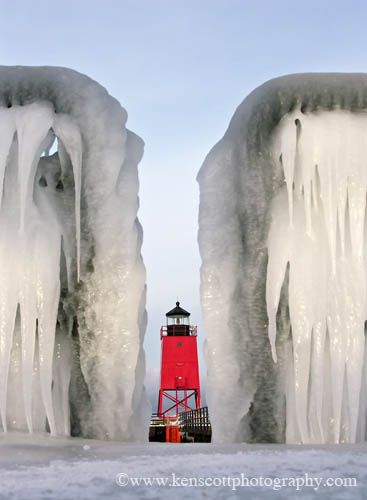 Charlevoix Lighthouse between the frozen guard rails, Michigan
