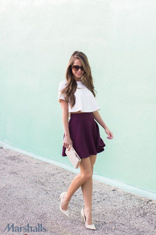 A flared crop top looks super-chic with a plum, high-waisted skirt. Just add oversized sunnies to finish that look.