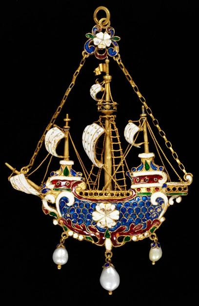 Pendant, Reinhold Vasters (c.1860)  Enamelled gold pendant in the form of a three masted ship hung with pearls. Designed and made by Reinhold Vasters, Aachen, Germany.