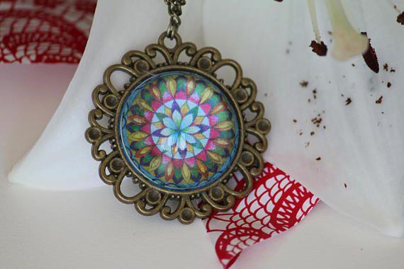 Mandala pendant. Mandala necklace. Mandala medal with antique