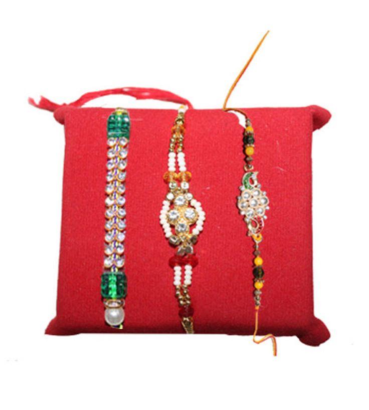 Multi design beautiful rakhi three set @ HandiCrunch.