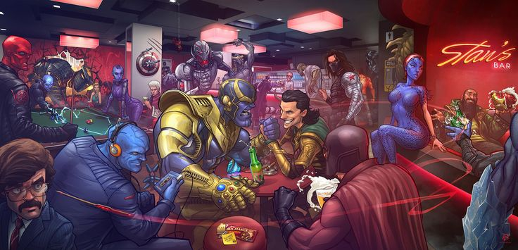 Marvel Villains by PatrickBrown on DeviantArt- This guy is amazing in placing characters and is an amazing comic artist!