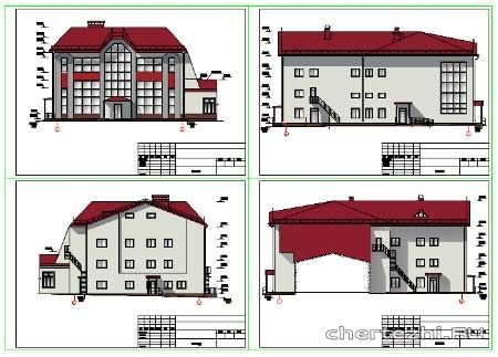 Эскизный проект здания ресторана с бильярдной