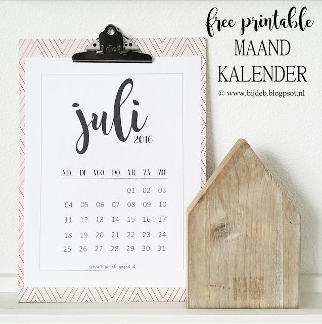 bijdeb: Free printable maand kalender Juli 2016....