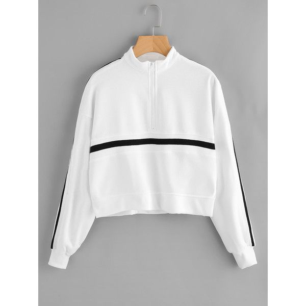 SheIn(sheinside) Striped Zip Up Front Sweatshirt ($17) ❤ liked on Polyvore featuring tops, hoodies, sweatshirts, white, white pullover, white top, striped long sleeve top, long sleeve sweatshirts and white long sleeve top