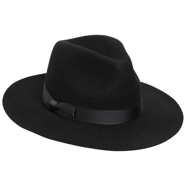 Lack Of Color Women Midnight Muse Wool Fedora Hat found on Polyvore featuring accessories, hats, black, wool fedora, brimmed hat, fedora hat, woolen hat and wool fedora hat