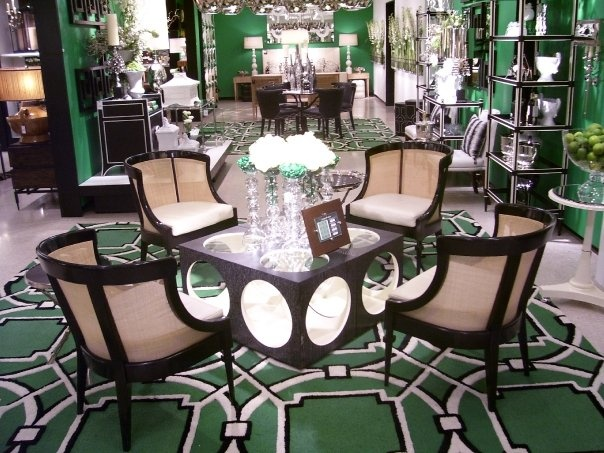 black white and kelly green Dining Rooms