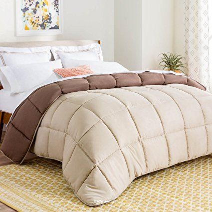 LINENSPA All-Season Reversible Down Alternative Quilted Comforter - Corner Duvet Tabs - Hypoallergenic - Plush Microfiber Fill - Box Stitched - Machine Washable - Sand / Mocha - Oversized King