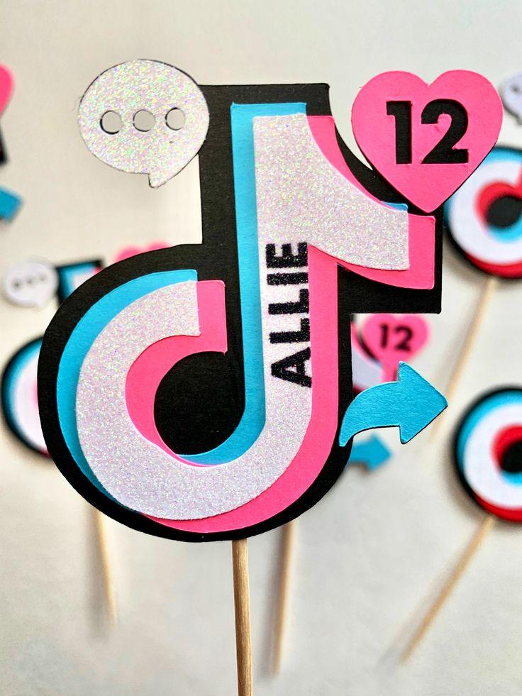 Tik Tok / TikTok Personalized Icons Cupcake Toppers / Tik