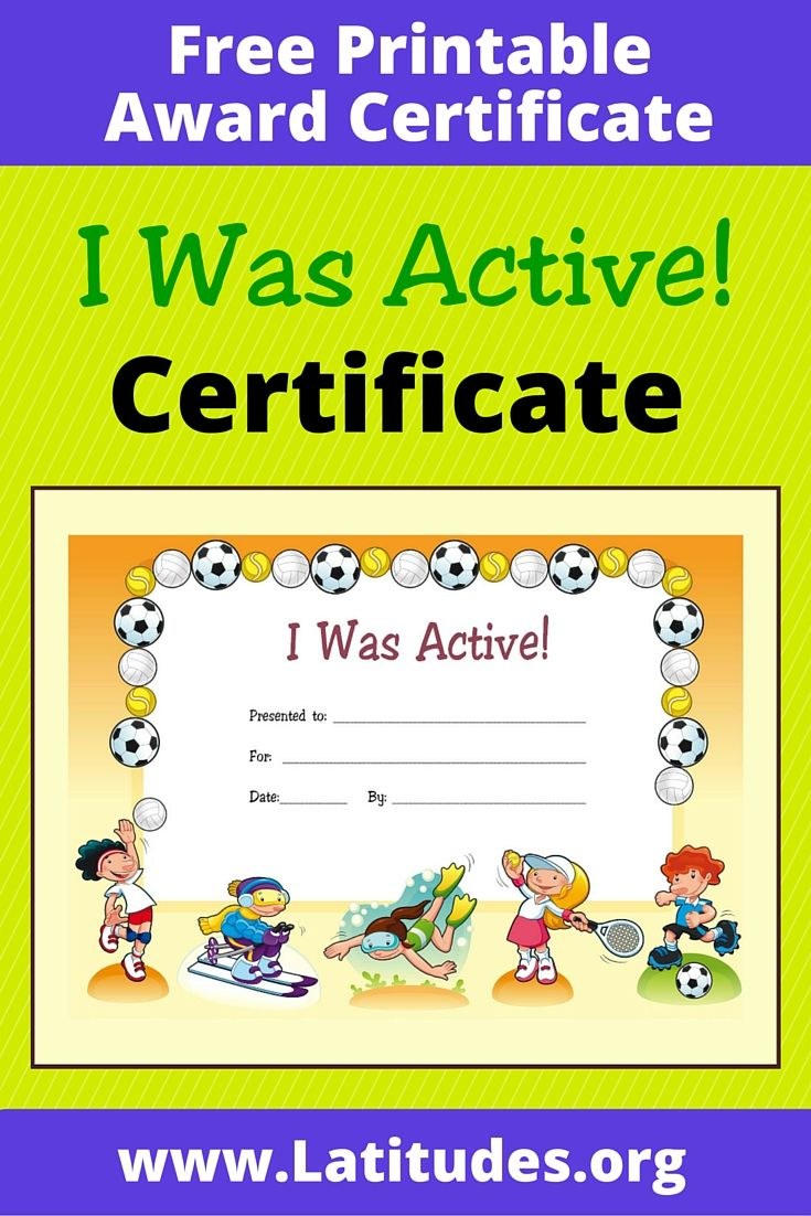 I Was Active! Free Printable Award Certificate for Kids
