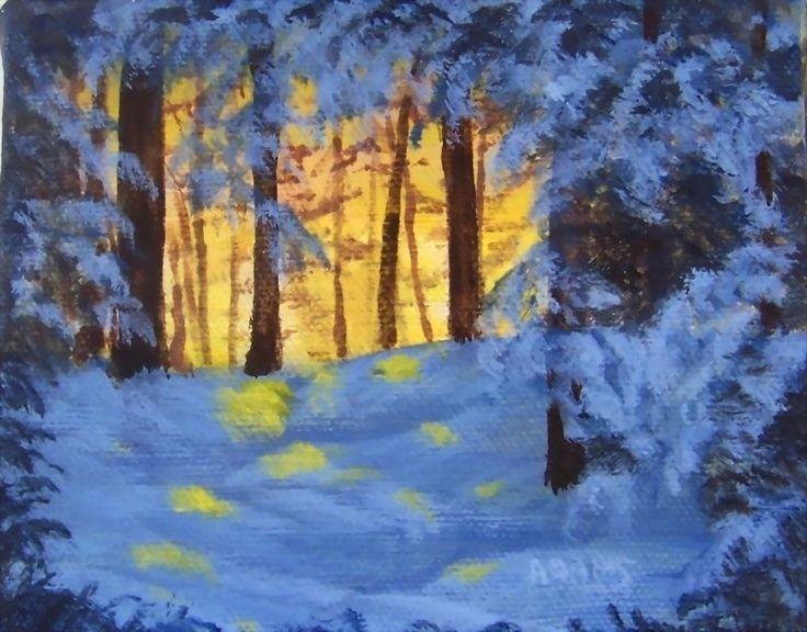 Pat Adams Original Winter Painting SFA Forest Sunrise Evergreens Snow  USA Art .   You can find my available paintings on this website: www.bonanza.com/booths/NaturesViews